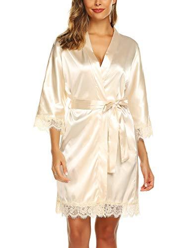 - URRU Women's Bathrobes Short Kimono Robe Bridesmaids Satin Sleepwear Above Keen Length Beige M
