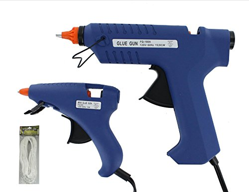 Vas Single (VAS ARTS & CRAFTS 2 PC ELECTRIC GLUE GUN SET, WITH GLUE STICKS & BONUS 40FT SINGLE STRAND WHITE CHENNILE PIPE STEM)