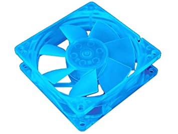 """UV Reactive Sleeve Bearing Case Fan w//3 Blue LEDs /& 3-Pin Connect 80mm 3/"""" x 3/"""""""