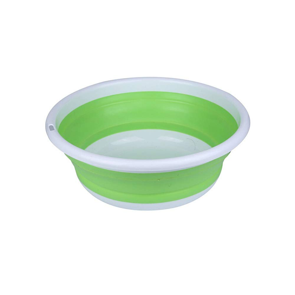 FNCUR Children's Washbasin Fishing Bait Pot Round Lightweight Washbasin Home Kitchen Use Travel Multi-Function Folding Plastic Washbasin (Color : Green, Size : S) by FNCUR