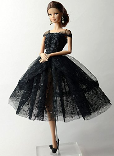 Phantomx Fashion Black Lace Skirt Evening Dress Outfit Gown Clothes For Barbie Doll - Tiana Costume Diy