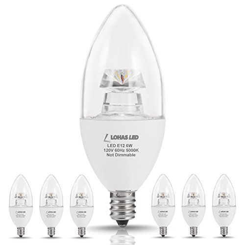 LOHAS LED Candelabra Bulb E12 Base, 60 Watt Light Bulbs Equivalent(6W), Daylight(5000K), LED Lamps for Ceiling Fan Fixtures, Home Lighting, Wall Light, Decorative Non-Dimmable(6 Pack)