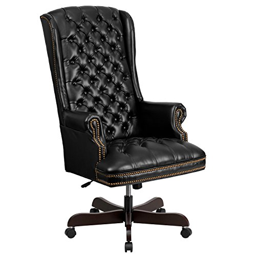 Flash Furniture High Back Traditional Tufted Black Leather Executive Swivel Chair with Arms