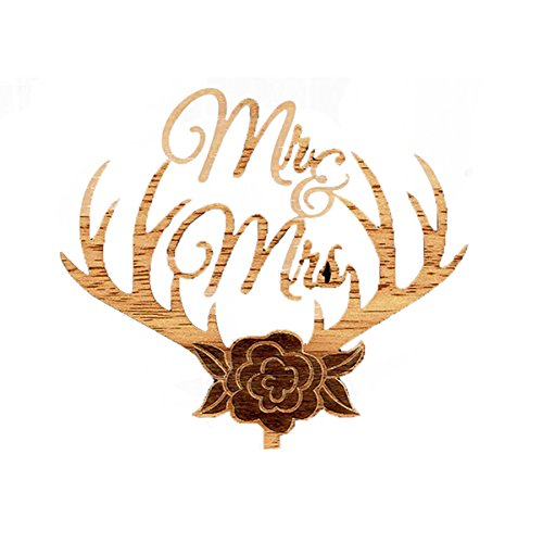 ULTNICE MR MRS Wedding Cake Topper Wooden Cake Picks for Party Decoration (Antler)