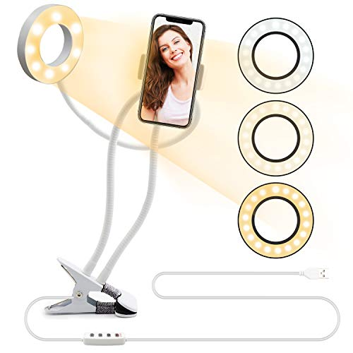 Selfie Ring Light with Cell Phone Holder,Selfie Light Clip Led Desk Lamp Mobile Phone Clip Holder for Bedroom, Office, Kitchen, Bathroom Live Stream Watch TV Tik Tok ,Flexible Arms Compatible with iPhone11 8 7 Plus X Android Huawei(white)
