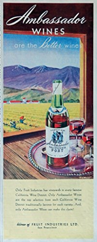 (Ambassador Wines 40's Print ad. Color Illustration (California Port) original Vintage 1945 Collier's Magazine Print Art )