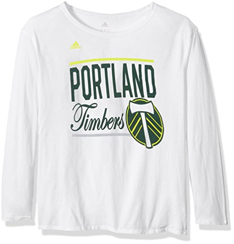 adidas MLS Portland Timbers Adult Women Team bar Stack L/s Crew Tee, X-Large, White