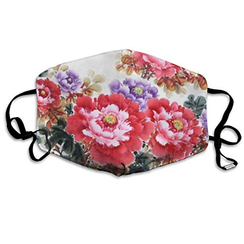 Dust Mask Watercolor Peony Flower Face Mask Cover Anti-dust Reusable Windproof Half Face Mouth Warm Masks for Ski Bicycle Cycling Motorcycle Women Men