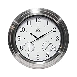 Infinity Instruments Churchill Round Outdoor Wall Clock | 18 inch Silver Clock and Thermometer for Indoor/Outdoor Use | Patio, Garden, Garage Wall Clock