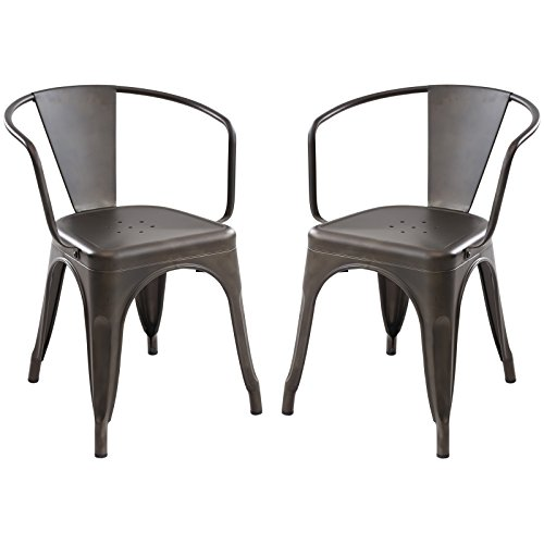 Poly and Bark Trattoria Arm Chair in Bronze (Set of 2) by Poly and Bark