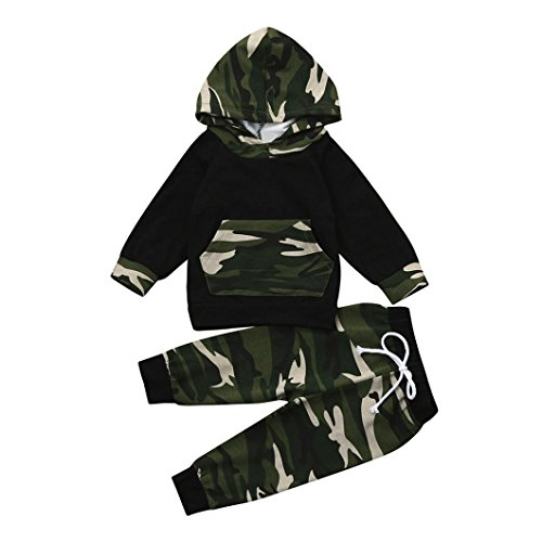 Price comparison product image Hot Sale!!Baby Boy Girl Clothes Set, Woaills 0-24 Monthes Toddler Camouflage Hoodie Tops+Pants Outfits (Black,  24M)