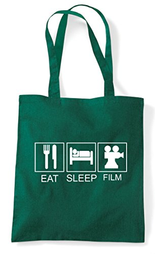 Dark Film Hobby Funny Shopper Tote Bag Sleep Eat Tiles Activity Green a7wx1Aq