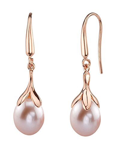 Cultured Pearl Rose Earrings (10mm Drop Shape Pink Freshwater Cultured Pearl Olive Dangle Earrings in Rose Gold)