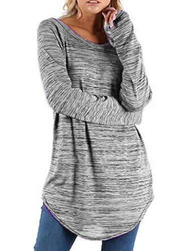 Casual Rond Blouse Tops Hauts Printemps Chemises et Sweat Longues Shirt Automne Pulls Femmes T Jumpers Col Shirts Chemisiers Longue Manches Tunique Mode 7xqg6wR