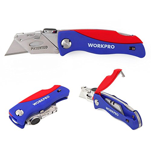 WORKPRO Folding Utility Pocket Knife Quick-change Blade, ABS Handle with 5 Extra Blades Included