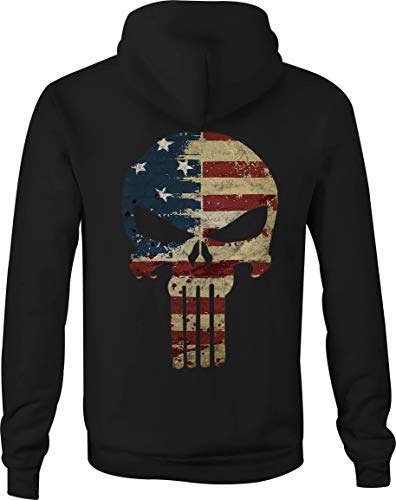 Zip Up Hoodie American Flag Tattered Distressed Tactical Punisher Skull - XL Black