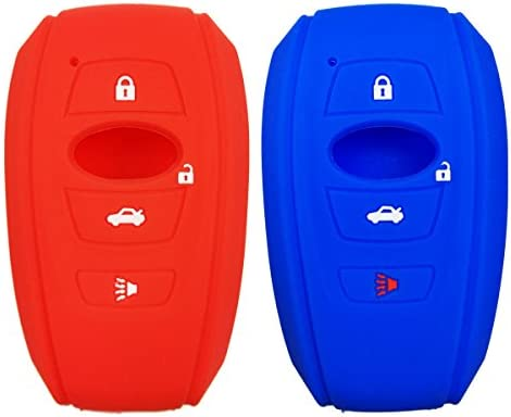 2Pcs Silicone Smart Key Fob Case Cover Holder for 2016 2017 Subaru Forester Sti 2017 Outback 2015 2016 XV Crosstrek Impreza 2014-2017 BRZ 2016 WRX Key Accessories Black Bag