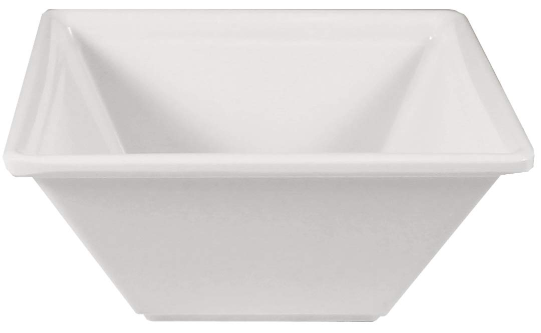 Square Melamine Bowls with Pan Scraper, 6-Pack, White (4 Inches, 8 Ounce)
