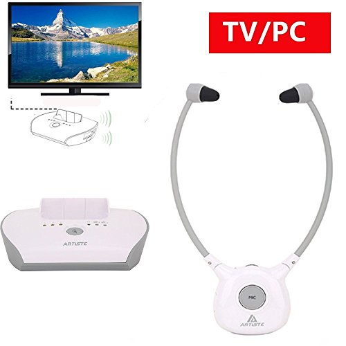 Wireless-Hearing-Aid-Headset-SystemArtiste-24G-TV-Assistive-Listening-Headphones-Including-Wireless-TransmitterFor-Elderly-Hearing-Aid-Headset2-Packs-Battery-White