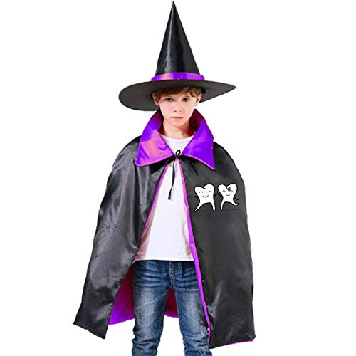 Kids Wisdom Tooth Halloween Party Costumes Wizard Hat Cape Cloak Pointed Cap Grils -