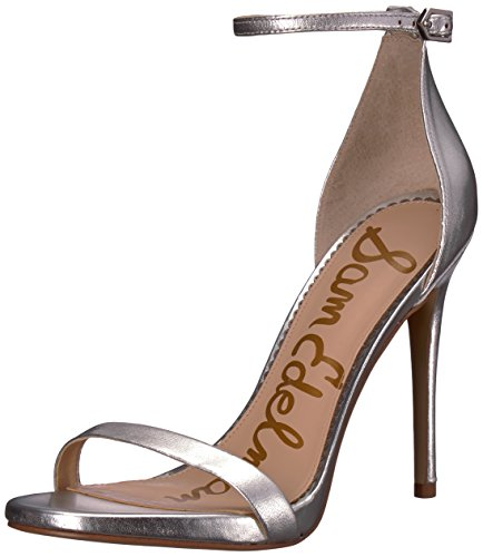 Heels High Leather Navy (Sam Edelman Women's Ariella Heeled Sandal, Soft Silver/Metallic Leather, 5.5 M US)