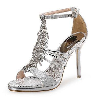 Sandalias De Mujer Zapatos Club Pu Glitter Wedding Party &Amp; Traje De Noche Stiletto Talón Rhinestone Silver Rose Gold US6.5-7 / EU37 / UK4.5-5 / CN37