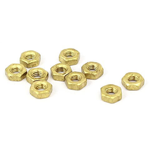 uxcell M3 Brass Finished Metric Hex Nut Fastener Brass Tone 10pcs