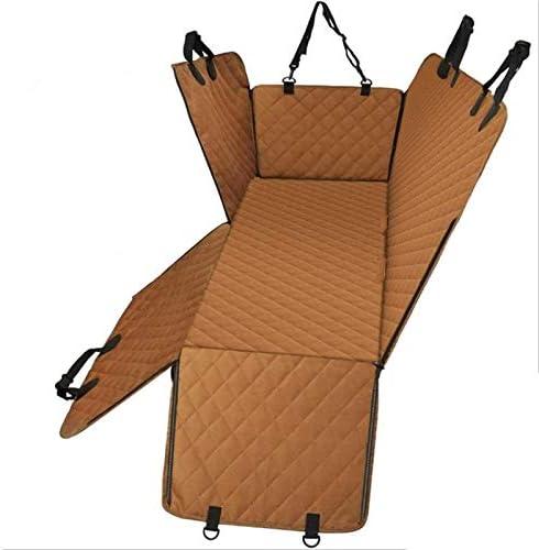 DIYHM 旅客の使用のため耐久性犬のカーシートカバーアンチスクラッチ防水車両のカーライナーハンモック滑り止めマットペット隠密 犬とアームレストは、車に適合、ユニバーサルサイズフィットFO (Color : Brown)