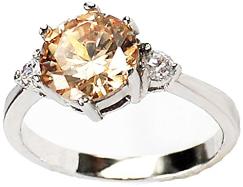 Epinki Women's 18K Gold Plated Jewelry Rings Inlaid 6 Claws Round Champagne Cubic Zirconia,White Size 6