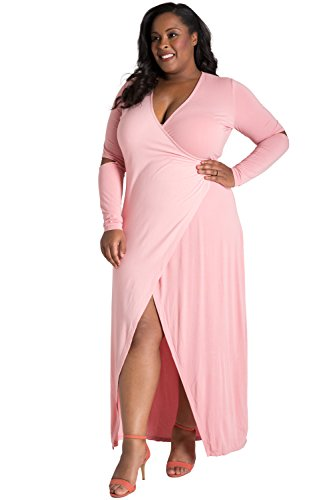 (Poetic Justice Plus Size Curvy Women's Elbow Cut Out Jersey Wrap Maxi Dress Size 2X Pink)