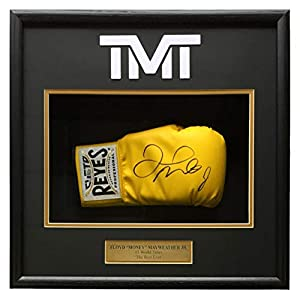 Floyd Mayweather Jr Signed Cleto Reyes Yellow Boxing Glove Shadowbox Beckett BAS