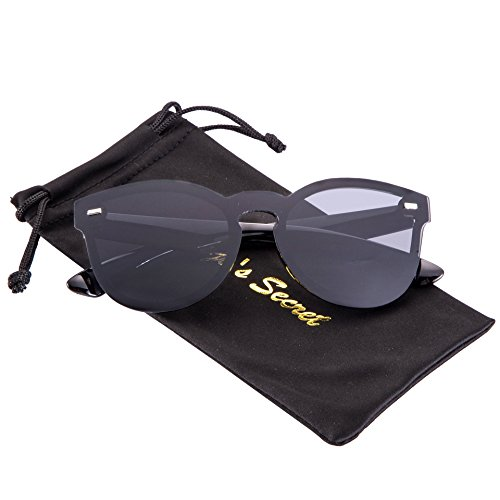 JOJO'S SECRET One Piece Rimless Sunglasses,Mirrored Reflective Lens Eyewear JS016 (Black/Grey, - Secret Service Sunglasses