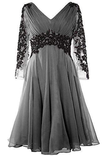MACloth Women V Neck Long Sleeve Cocktail Dress Short Mother of the Bride Dress Gris