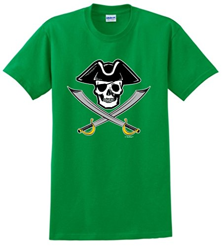 [Funny Sailing Gift Pirate Jolly Roger Captain Skull Crossed Swords T-Shirt Medium Green] (Authentic Pirate Coats)