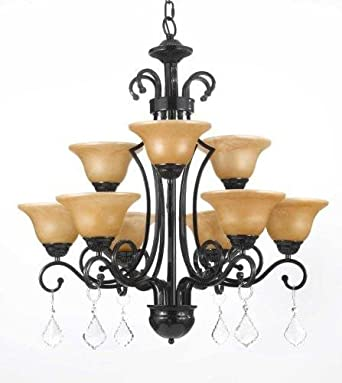 Wrought Iron Crystal Chandelier Chandeliers H30 X W28