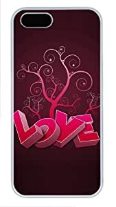 3D heart and tree uncommon iphone 5 case PC White for Apple iPhone 5/5S by runtopwell