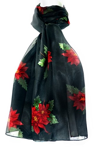Silk Feel Christmas Scarf - Single & Double Poinsettias on Black
