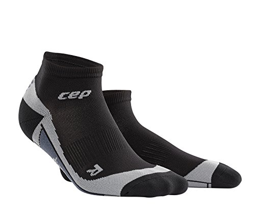 CEP Men's Dynamic+ Low Cut Socks with Compression and Light, Breathable Fit for Cross-Training, Running, Recovery, Tiathletes, and all Endurance and Team Sports, Black/Grey, 4