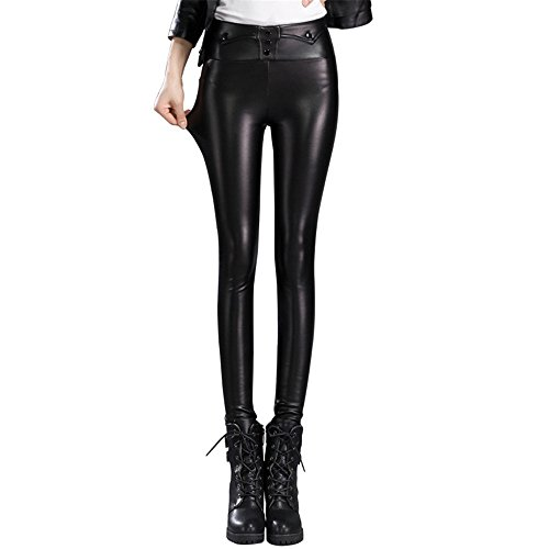 High Waisted Buckle (Women's Biker Thicken Slim Skinny Pants Faux Leather Stretch High Waisted)