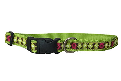 TOP PAW Nylon and Ribbon Adjustable Pet Dog Collar (Green Fire Hydriant, - Dog Ribbon Adjustable Collar