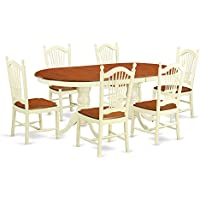 East West Furniture PLDO7-WHI-W 7 Piece Dining Table and 6 Kitchen Chairs