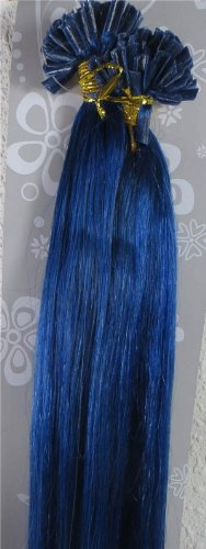 """New 20"""" Remy Straight Nail U-tip Human Hair Extensions 100strands 0.5gr/s More Colors (20"""" 0.5gr/s, #Blue)"""