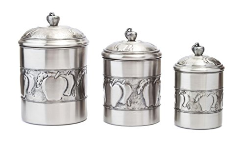 Old Dutch Antique Embossed 3 Piece Apple Canister Set with Fresh Seal Covers, Antique Pewter