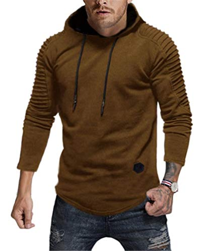 Nicetage Hoodies for Men Fashion Men's Pleats Slim Fit Raglan Long Sleeve Hooded Top Solid Pullover (HS80-Man Khaki XXL)