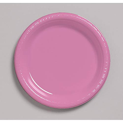 Creative Converting 20-Count Touch of Color Plastic Banquet Plates, Candy Pink