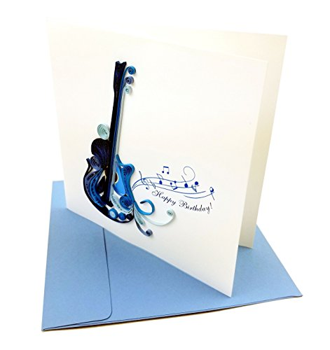 "Blue Guitar with ""Happy Birthday"" Quilling Greeting Card, 6x6"" with Envelope. Blank Inside. Hand-made. Suitable for Framing."