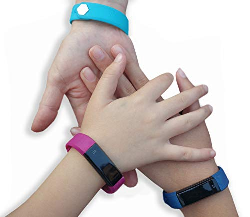 Fitness Tracker for Kids Activity Trackers - Children Health Digital Smart Watch Jr Teens Bluetooth Step Calorie Counter Sleep Monitor Exercise Pedometer Alarm iOS Android (Blue Black 2 Band Gift)