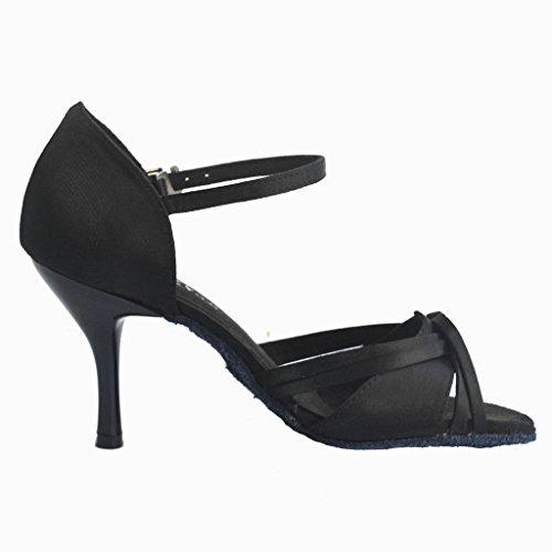 Jig Foo Sandalen offene Latin Salsa Tango Ballroom Dance Schuhe für Frauen mit 7,6cm Ferse Schwarz