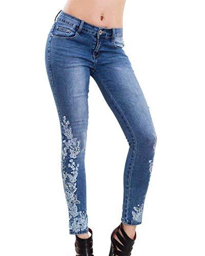 Vintage Donna Hellblau Ricamo Pantaloni Alta Casual Stretch Moderna Haidean Aderenti Con A Attillati Jeans Da Vita Zax6fwqOY