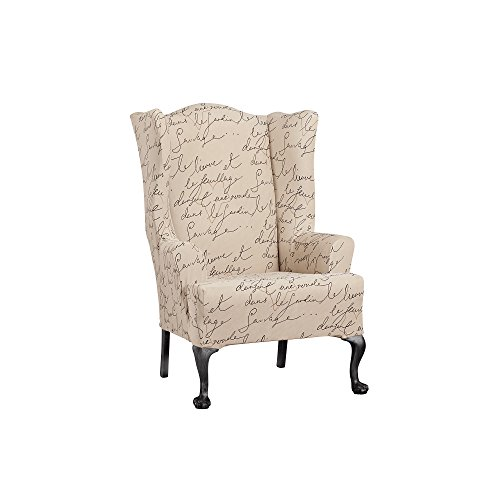 WAVERLY Sure Fit Stretch Pen Pal Wing Chair Slipcover - Parchment (SF43531)